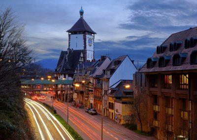 Freiburg Dämmerung am Schloßbergring